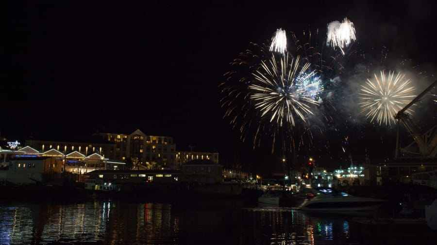 Cape Town South Africa Fireworks light the sky each year at the gorgeous waterfront area.