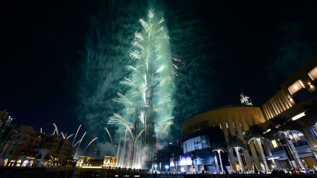 Dubai United Arab Emirates The Burj Khalifa the worlds tallest tower serves as the staging point for a massive fireworks show.